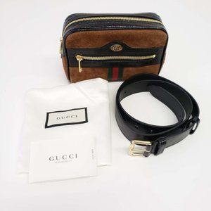 Gucci Ophidia Suede and Leather Belt Bag NEW